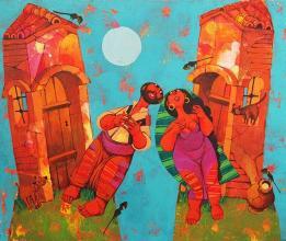 """""""Съседи"""", 55х46, маслени бои/платно"""