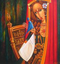 "Ангел Василев, ""Жена с птица"", 45х40"