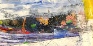 "Nikolay Nyagolov, <em>G<span id=""result_box"" class=""short_text"" lang=""en""><span class="""">reen tea at the end of winter</span></span></em>, 50х100, acrylic on canvas"