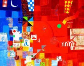 Red field, 40х50, acrylic on canvas