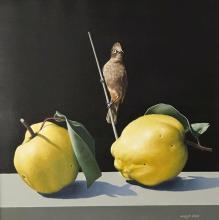 Натюрморт с птица, 40х40, маслени бои върху платно