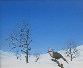 Winter landscape with a bird, 38х46, oil on canvas