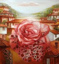 """""""Розата"""" , /45х40/ , маслени бои върху платно"""