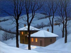 """""""Зимна нощ в Балкана"""", 46х61, маслени бои/платно"""