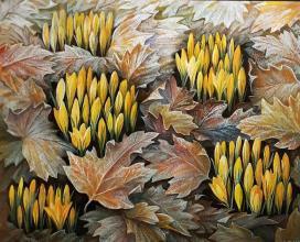 """Цикъл - """"Флорални килими"""" - /40х50/ - маслени бои върху платно"""