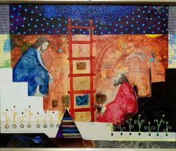 """Здравко Палазов - """"Стълбата"""" I /33х41/ м.бои, акрил, платно"""