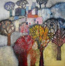 "Nedko Itinov- ""A village from the Rhodopes"" I/100x100/acrylic paint on canvas"