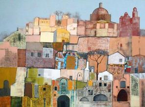 "Nedko Itinov- ""Landscape from Puglia""/90x120/acrylic paint on canvas"