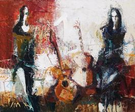 Stanimir Videv<br />Two guitars/65x54/oil paints on canvas