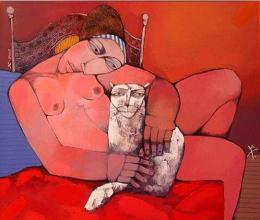 """Момиче с котка"", 60х70, маслени бои/платно"