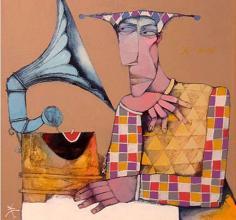 """""""Старият грамофон"""", 50х50, маслени бои/платно"""