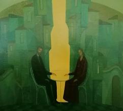 "<strong>Михаела Иванова</strong> - 1994г.<br /> ""Среща"" , 63х70<br />м.бои/платно"