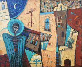 "<strong>Снежана Фурнаджиева</strong> - 2000г.<br />""Синият Ангел""<br />60х70, м.бои/платно"