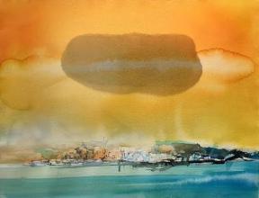 Облак - акварел, ръчна хартия /49х64/