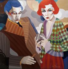 """Cigarette and cognac"" / 36х36 / acrylic on canvas"