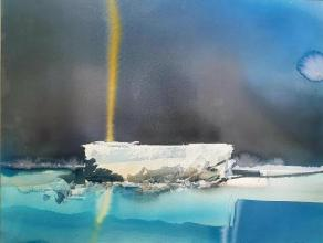 """Iceberg"" / 49x64 / watercolor, handmade paper"