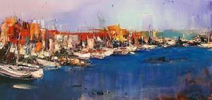 """""""Яхтеното пристанище в Ларнака"""", 35х70, маслени бои/платно"""