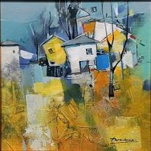 Mountain village / 25х25 / acrylic on canvas