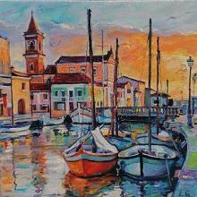 <p>Елена Георгиева<br />Лодки II /30х30/ маслени бои, платно</p>