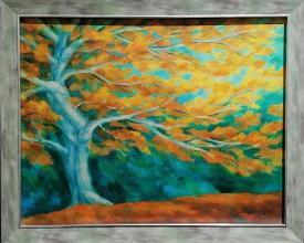 <p>Михаела Иванова<br />Състояние – есен I /40х50/ маслени бои, платно</p>