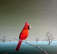 The red bird, 30х30, oil on canvas