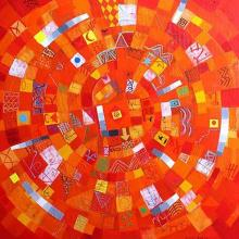 Iliya Zhelev, <em>Small red rotation</em>, 60х60, acrylic on canvas
