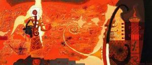 """Молитва"", 30х70, маслени бои/платно"