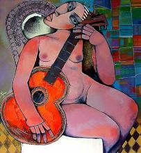 Krastyo Todorov-Keca, <em>Girl with guitar</em>, 60х55