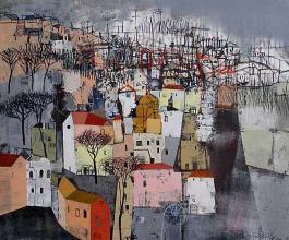 Wharf, 40х45, acrylic on canvas