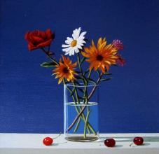 A cherry still life, 30х30, oil on canvas