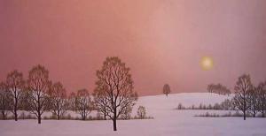 """Зимно слънце"", 50х100, маслени бои/платно"