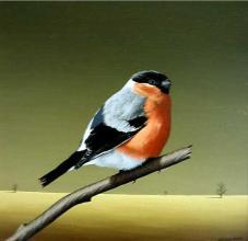 """Самотна птица"", 30х30, маслени бои/платно"