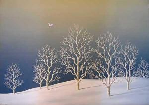 """""""Залез през зимата"""", 46х65, маслени бои/платно"""