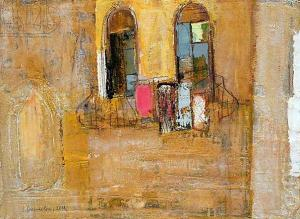 Facade in yellow, 58х80, oil on canvas