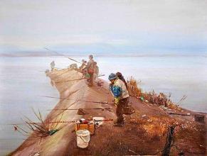 """""""Рибарски ден"""", 30х40, маслени бои/платно"""