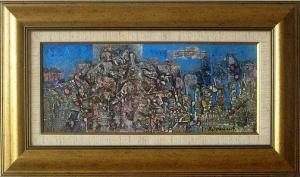 Rock figures, 19х45, acrylic on canvas