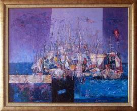 Yacht port, 65х81, acrylic on canvas