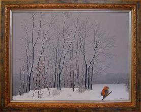 """Зимен пейзаж с птица"", 46х61, маслени бои/платно"