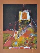 """Васко Тенев, """"Френска къща"""", хартия/смесена техника"""